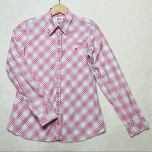 Vintage Lilly Pulitzer 10 button down plaid pink